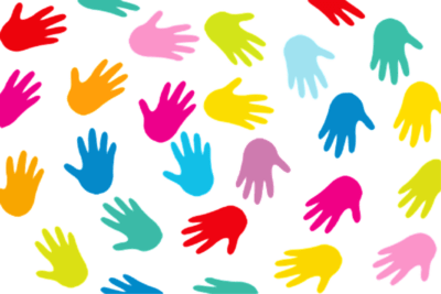 colorful hands scattered about